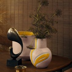 Yellow and pastel vase from the design cooperation between Kähler and Stine Goya called 'Fiora'.