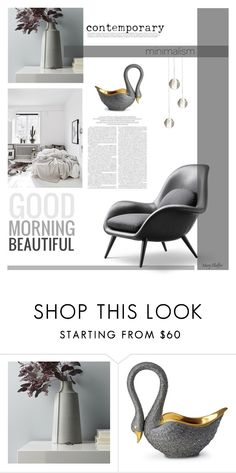 """contemporary grays"" by mcheffer ❤ liked on Polyvore featuring interior, interiors, interior design, home, home decor, interior decorating, CB2, L'Objet and contemporary"