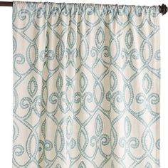 Trellis Embroidered Curtain - Turquoise