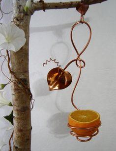 Copper Baltimore Oriole Orange Feeder by CopperGardenStudio, $25.00