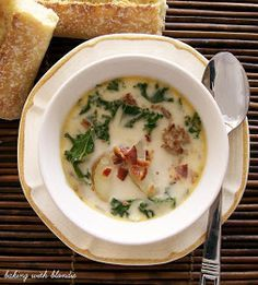 Olive Garden's Zuppa Toscana. I love this soup and the recipe is almost spot on. Very easy to make.