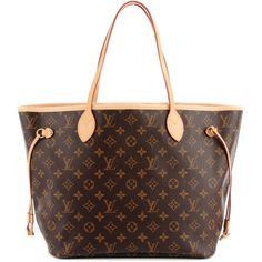 LOUIS VUITTON Monogram Neverfull MM Cerise Cherry ❤ liked on Polyvore featuring bags, handbags, tote bags, louis vuitton, brown tote purse, striped tote bag, monogrammed tote bags and stripe tote bag