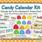 19 page PDF contains candy-themed calendar components. -31 gumdrop number cards (red, orange, yellow, green, blue, purple pattern) -Day cards (with...