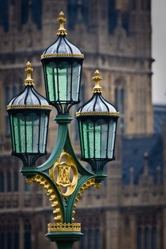 Streetlamps on Westminster Bridge, London.