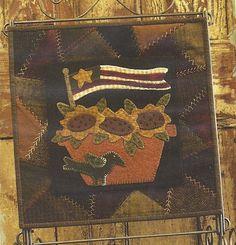 Primitive Wool Applique | Primitive Folk Art Wool Applique Table Mat Pattern: JULY - Wool Crazy ...