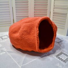 Crochet Cat Cave Nest  Pet Bed Coral Orange Red by LittlestSister