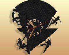 Bergsteiger Uhr Geschenk große Holz nicht ticken große 16.12.18 Zoll, Klettern, Wall Art Decor. #32-Pers.-p05-D1
