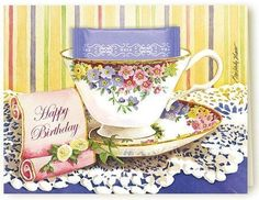 Kimberly Shaw Happy Birthday Tea Card - Kimberly Shaw Tea Greeting Cards - Roses And Teacups Happy Birthday Best Friend, Happy Birthday Girls, Birthday For Him, Happy Birthday Quotes, Happy Birthday Images, Birthday Cards, Birthday Wishes, 21 Birthday, Sister Birthday