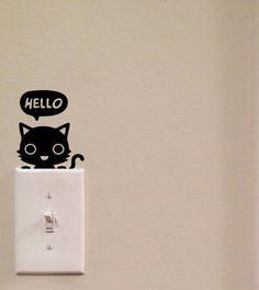 Hola gato interruptor lindo vinilo Wall Decal pegatina arte