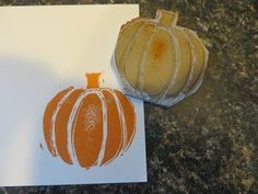 hand carved pumpkin stamp