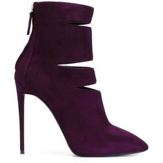 Giuseppe Zanotti Design Cut-Out Detail Boots (730 CAD) ❤ liked on Polyvore featuring shoes, boots, ankle booties, heels, booties, pointed toe booties, high heels stilettos, purple booties, heels stilettos and heel boots