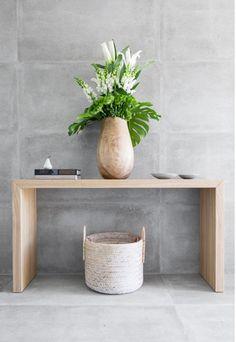 Viva NR 21 Cemento Grey Lap Perception The Avanti Display Home Gwellup by Coco Republic. Entry Hallway, Hallway Walls, Concrete Tiles, Australian Homes, Elegant Homes, Interior Inspiration, Interior Ideas, Home Furniture, New Homes