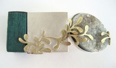 """""""tiny composition"""" brooch 2x4cm (silver, brass, stained wood and semi precious   Lauren Wethers"""