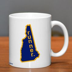 New Hampshire State Runner Ceramic Mug | Running Coffee Mugs | Coffee Mugs for Runners