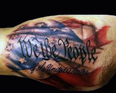 Bicep We The People Us Flag Tattoos For Men
