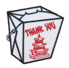 Chinese Take Out Food Fried Rice Box Oriental Restaurant Iron On Applique #Patch