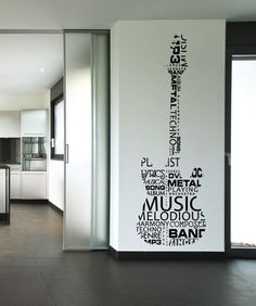 Vinyl Wall Decal Sticker Music Words Guitar #1162 | Stickerbrand wall art decals, wall graphics and wall murals.