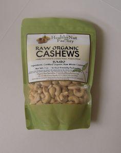 Raw Organic Cashews (Jumbo) Ingredients: Certified Organic Raw Whole Cashews 9oz  www.healthynutfactory.com
