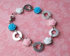Pink, Blue, and White Rose Cabochon and Silver Washer Bracelet