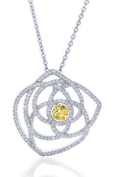 Enchanted Lotus yellow diamond pendant by De Beers