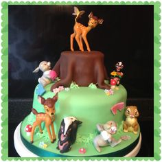 2 tier tree trunk bambi and butterfly cake Bambi, Fondant Toppers, Fondant Cakes, Lily Cake, Rolling Fondant, Butterfly Cakes, Disney Cakes, Take The Cake, Specialty Cakes
