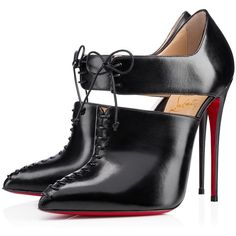 Pre-owned Christian Louboutin Boots ($998) ❤ liked on Polyvore featuring shoes, boots, ankle booties, christian louboutin, heels, apparel & accessories, black, high heels stilettos, black leather booties and black cutout booties