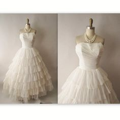 50's Wedding Dress // Vintage 1950's Strapless Off White Chiffon Wedding Dress Gown XS