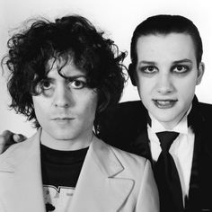 Mark Bolan of T.Rex with Dave Vanian from The Damned (circa March 1977 when The Damned opened for T.Rex on their final tour before Bolan's death in September of the same year.) Pretty amazing photo.