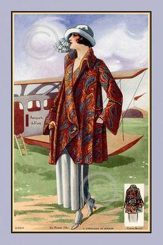 Français vintage design de mode d'impression, Modèle à Paisley Manteau trapèze, Chapeau, mode, Bernard, l'aéroport de Paris, Avion, 1923, Giclee Fine Art, 12x18