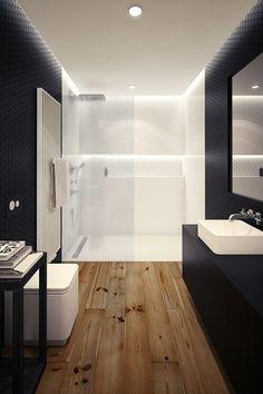 10 Minimalist Bathrooms of Our Dreams Architect and interior designer Oskar Firek created this black and white bathroom in a loft apartment in Krakow, Poland. Dream Bathrooms, Beautiful Bathrooms, Modern Bathrooms, Small Bathrooms, Black Bathrooms, White Bathroom, Bathroom Interior, White Shower, Wood Bathroom