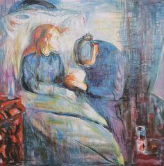 The Sick Child by Edvard Munch, Norwegian, 1925. #wikimedia File:MunchDaskrankeMaedchen.JPG