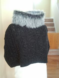 DIY upcycled sweater to capelet with faux fur collar tutorial