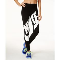 Nike Leg-a-See Logo Leggings ($45) ❤ liked on Polyvore featuring pants, leggings, white trousers, nike, logo pants, white pants and white leggings
