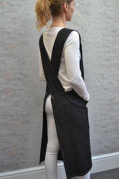 Apron Dress, Smock Dress, Japanese Apron, Pinafore Apron, Black Denim, Smocking, Im Not Perfect, Crossover, How To Wear