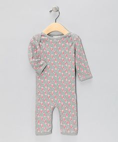 Gray & Pink Llama Organic Playsuit - by Broken Tricycle #zulily