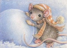 Art by Lynn Bonnette: Mouse Snowball