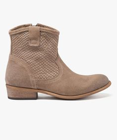 Boots dessus cuir Taupe
