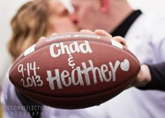Football inspired engagement shoot, save the date! Rustic Reflections Photography