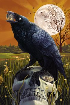 Baltimore, Maryland - Raven and Skull - Lantern Press Artwork Giclee Art Print, Gallery Framed, Espresso Wood), Multi Corvo Tattoo, Rabe Tattoo, Quoth The Raven, The Ancient Magus, Raven Art, Crow Art, Arte Obscura, Crows Ravens, Mystique