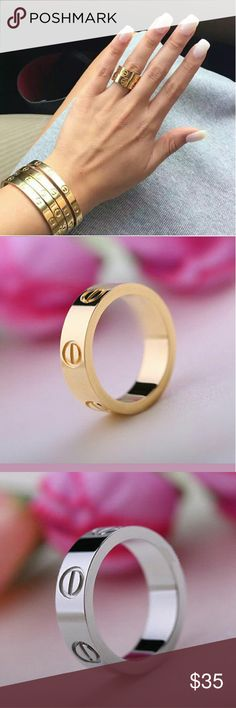 NEW! GOLD - SILVER - ROSE GOLD - LOVE RINGS Gold Plated Stainless Steel - AAA Quality - Rose Gold - Gold - Silver - Perfect gems to wear alone or stack   Listing price is for 1 ring - bundle & save!  Comment to pre order size - Please allow 2 weeks  Price is Firm  No Trades  Fast Shipping Moda Ragazza  Jewelry Rings