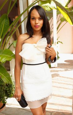 Kerry Washington white strapless dress with bow accent