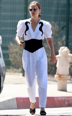 2e9228c15586 Natalie Portman cuts a chic figure in black and white jumpsuit