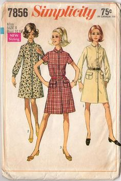 Vintage 1960s Simplicity Sewing Pattern 7856 Misses Above the Knee Dress