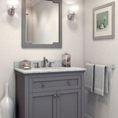 Jeffrey Alexander Gray Chatham Shaker Mirror - - Bath Vanity Plus Brown Bathroom, Grey Bathrooms, Bathroom Wall, Bathroom Storage, Master Bathroom, Bathroom Cabinets, Bathroom Ideas, Bathroom Vanities, Seashell Bathroom