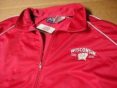 a university of wisconsin badgers ncaa college jogging warm up jacket coat new xl