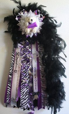 Homecoming mum #purple #black #mini