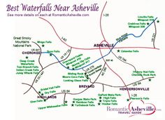 Map showing approximate locations of  some of the best Waterfalls near Asheville, North Carolina ... click on site for details www.romanticasheville.com/waterfall