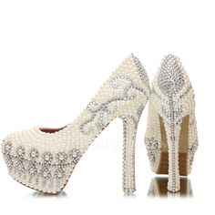 Women's Real Leather Stiletto Heel Closed Toe Platform Pumps With Imitation Pearl Rhinestone (047054769)