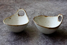 Adorable Stoneware Ceramic Bowl (24). Beautiful salt & pepper ceramic bowls.