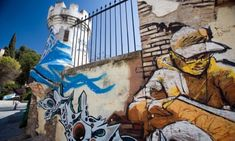 Graffiti by the artist known as El Ni de las Pinturas Granada Spain - stock photo Granada Spain, All Art, Mount Rushmore, Graffiti, Stock Photos, Mountains, Artist, Photography, Painting